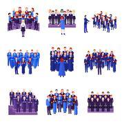 Choir Singing Ensemble Flat Icons Collection Stock Illustration