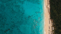 Aerial view beautiful beach on tropical island. Boracay island Philippines Stock Footage