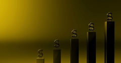 Gold ominous money graph with room for graphics Stock Footage
