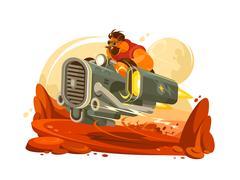 Space traveler explores planet Stock Illustration