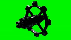 ISS. International Space Station Orbiting Earth on green chromakey Stock Footage