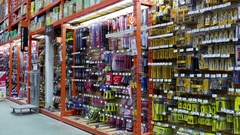 Motion of display tools inside Home Depot store with 4k resolution Stock Footage