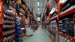Bath and drain products corridor in Home Depot store Stock Footage