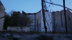 4K Old Eastern European CIty Buildings and Construction Area Establishing Shot Stock Footage