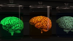 4K Human Brains in Science Laboratory Glasses Cinematic 3D Animation 1 Stock Footage