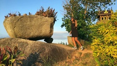 Young Girl Walking to Amazing Viewpoint To See Sunset. Slow motion travel Stock Footage