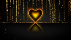 Elegant Glowing Heart with Streaks of Light Particles Seamless Loop Gold Yellow Stock Footage