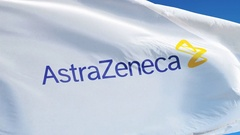 AstraZeneca plc company flag in slow motion, editorial animation Stock Footage