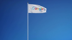 Google company flag in slow motion, editorial animation Stock Footage