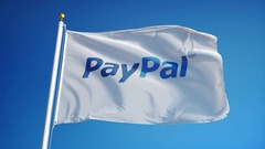 PayPal company flag in slow motion, editorial animation Stock Footage
