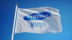 Samsung Group flag in slow motion, editorial animation Stock Footage