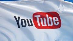 YouTube website flag in slow motion, editorial animation Stock Footage