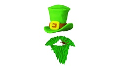 Hat and Smoking pipe Happy St. Patrick's day with clover. Alpha matte. 4K Stock Footage
