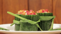 Healthy snack of fresh vegetables. Stock Footage