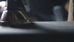 Woman ironing clothes on ironing board, close up, slow motion Stock Footage