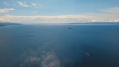 Motorboat on the sea, aerial view.Cebu island Philippines Stock Footage