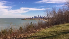 Establishing shot of Cleveland Ohio as seen from Edgewater park Stock Footage