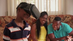 Happy Black Family Playing With Virtual Reality Goggles VR Headset Stock Footage