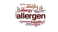 Allergen animated word cloud, text design animation. Stock Footage