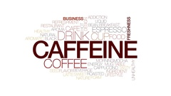 Caffeine animated word cloud, text design animation. Kinetic typography. Stock Footage