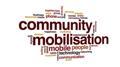 Community mobilisation animated word cloud, text design animation. Stock Footage