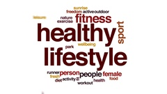 Healthy lifestyle animated word cloud, text design animation. Stock Footage