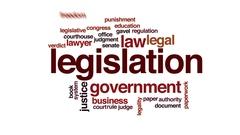 Legislation animated word cloud, text design animation. Stock Footage