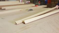 Cutting Wood in Carpenter workshop. Circular Saw. Stock Footage
