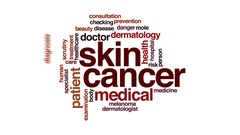Skin cancer therapy animated word cloud, text design animation. Stock Footage