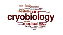 Cryobiology property animated word cloud, text design animation. Stock Footage