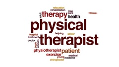 Physical therapist animated word cloud, text design animation. Arkistovideo