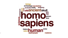 Homo sapiens animated word cloud, text design animation. Stock Footage