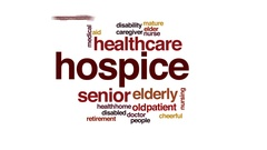 Hospice animated word cloud, text design animation. Stock Footage