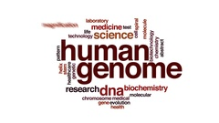 Human genome animated word cloud, text design animation. Stock Footage