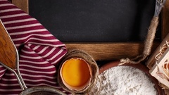 Ingredients for baking with chalk board Stock Footage