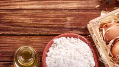 Ingredients for baking cake or bread Stock Footage