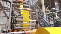 Yellow plastic bags manufacturing process Stock Footage
