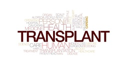 Transplant animated word cloud, text design animation. Kinetic typography. Stock Footage