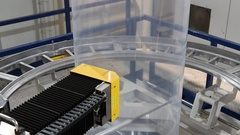 Robotic quality control unit on plastic extruder Stock Footage