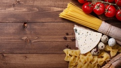 Ingredients for an Italian pasta recipe Stock Footage