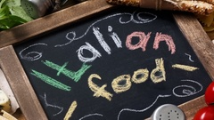 Italian food recipe on rustic wood Stock Footage