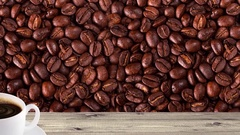 Natural pine boards with coffee Stock Footage