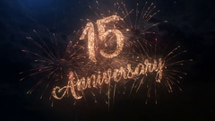 Happy birthday Anniversary 15 years celebration greeting text with fireworks Stock Footage