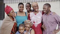 4K Portrait of a smiling family group from an African village Stock Footage