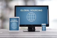 Global sourcing concept on different devices Stock Photos