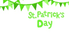 Title with flags Happy St. Patrick's day. Alpha matte. 4K Stock Footage
