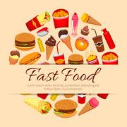 Fast food snacks and desserts vector poster Piirros