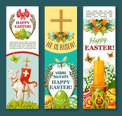 Easter spring holiday festive banner set design Stock Illustration