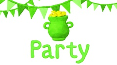 Treasure of Leprechaun, Pot Full of Golden Coins. Happy St. Patrick's day Party Stock Footage