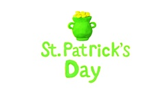 Pot Full of Golden Coins and Title St. Patrick's day. Alpha matte. 4K Stock Footage